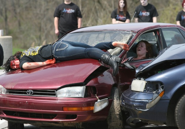 Fatal Car Accident Bodies Mock Crash