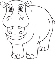 Hippo Black White Outline 914 Hippopotamus Black White Outline Hits
