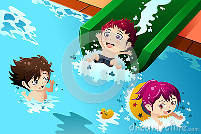 Kids Having Fun In The Swimming Pool Stock Vector   Image  42871040