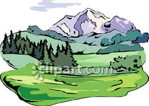 Trees And Mountain Scene Clipart - Clipart Kid