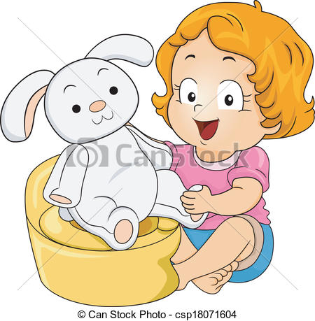 Vector Clipart Of Bunny Potty Training   Illustration Of A Little Girl