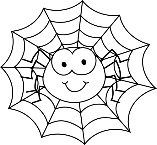 Black And White Spider In A Web Clip Art   Black And White Spider In A