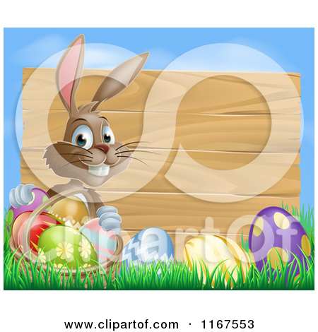 Brown Easter Bunny With Eggs In Grass And A Basket By A Wood Sign With