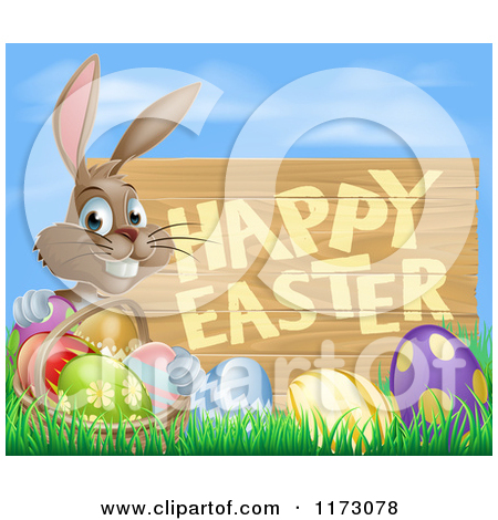 Cartoon Of A Brown Bunny With A Basket And Easter Eggs In Grass By A