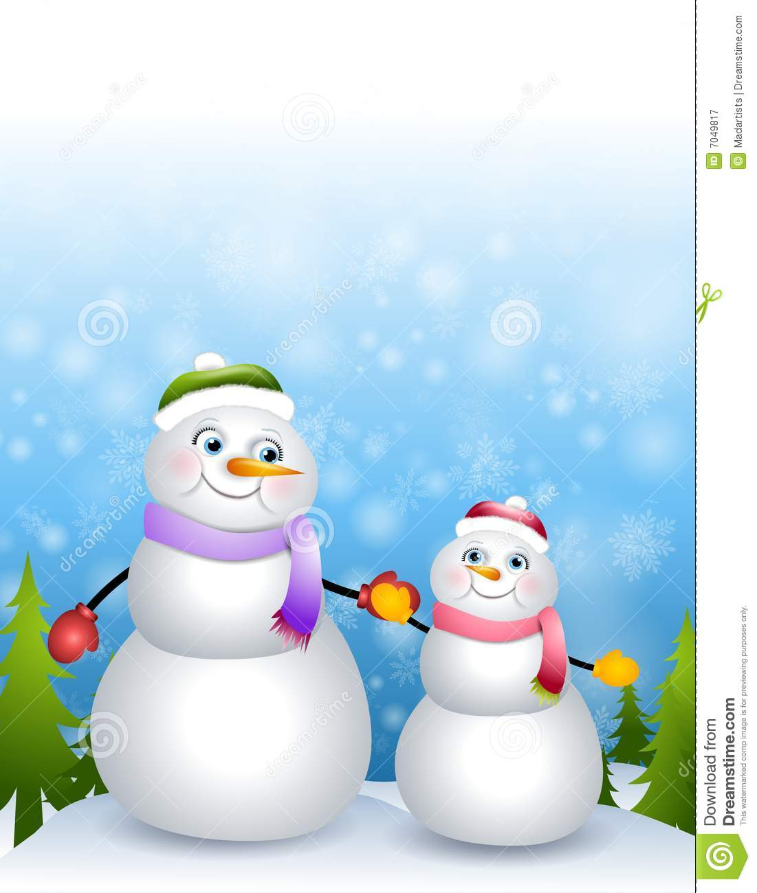 Clip Art Illustration Featuring A Mother And Daughter Snowman Theme