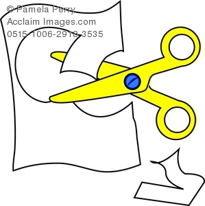 Clip Art Image Of A Pair Of Child S Safety Scissors Cutting Paper