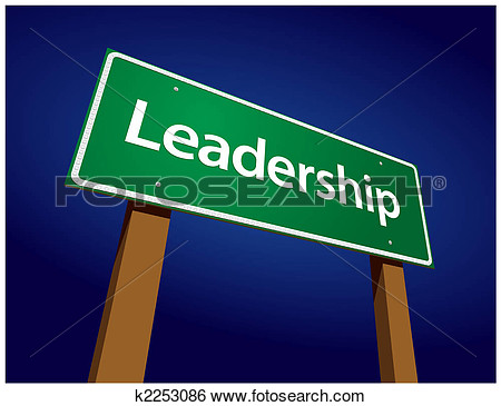 Clip Art Of Leadership Green Road Sign Illustration K2253086   Search