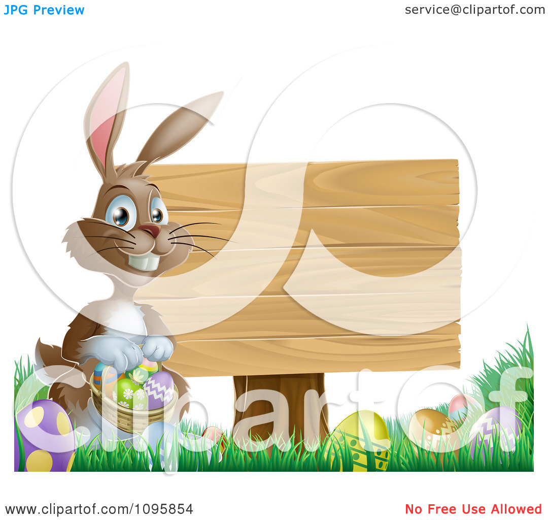 Clipart Brown Easter Bunny Holding A Basket Of Eggs By A Wood Sign In