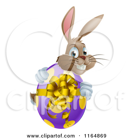 Clipart Brown Easter Bunny Holding A Sign And Basket Of Eggs   Royalty
