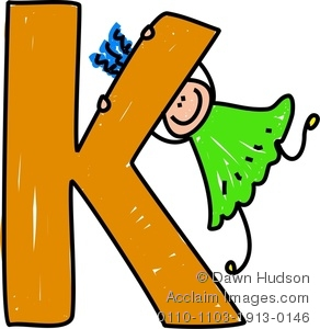 Clipart Image Of A Happy Little Girl Climbing Over A Giant Letter K