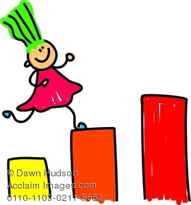 Clipart Image Of Little Girl Climbing Up Blocks   Acclaim Stock