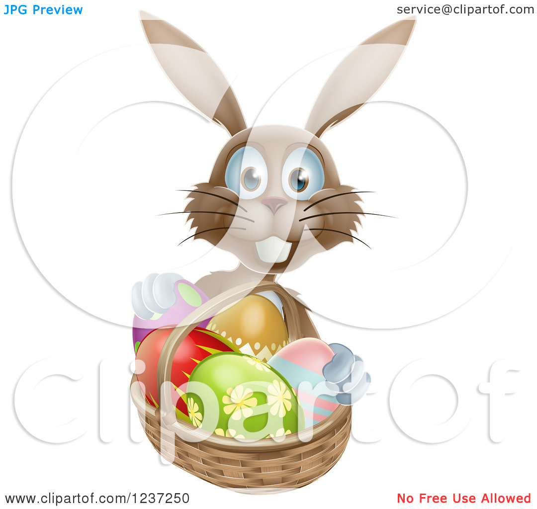 Clipart Of A Happy Brown Bunny With Easter Eggs And A Basket   Royalty