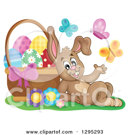 Clipart Of A Happy Brown Easter Bunny Rabbit Resting Against A Basket