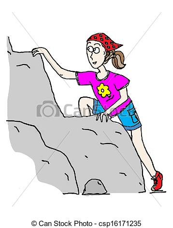 Drawings Of Climbing Girl   Determined Young Girl Climbs A Mountain