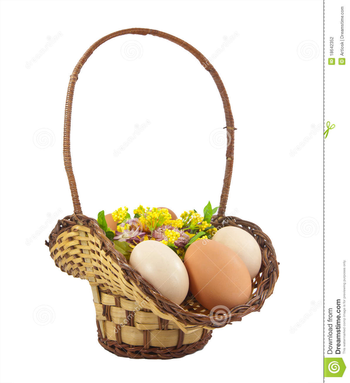 Easter Eggs In Brown Basket Stock Photography   Image  18642352