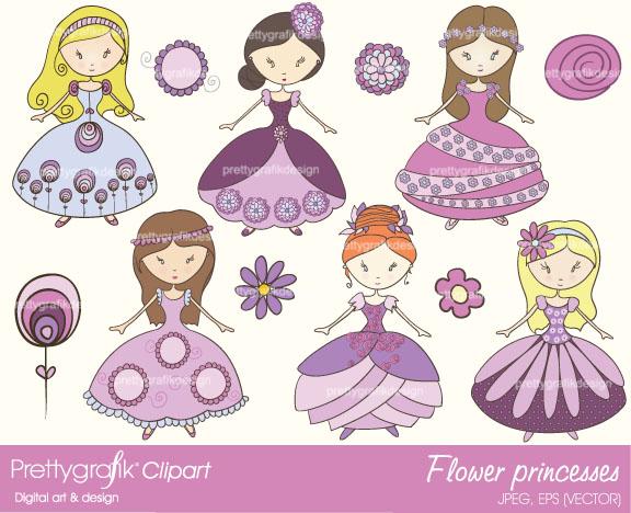 Flower Princess Clipart Princess Clipart Commercial Use 0