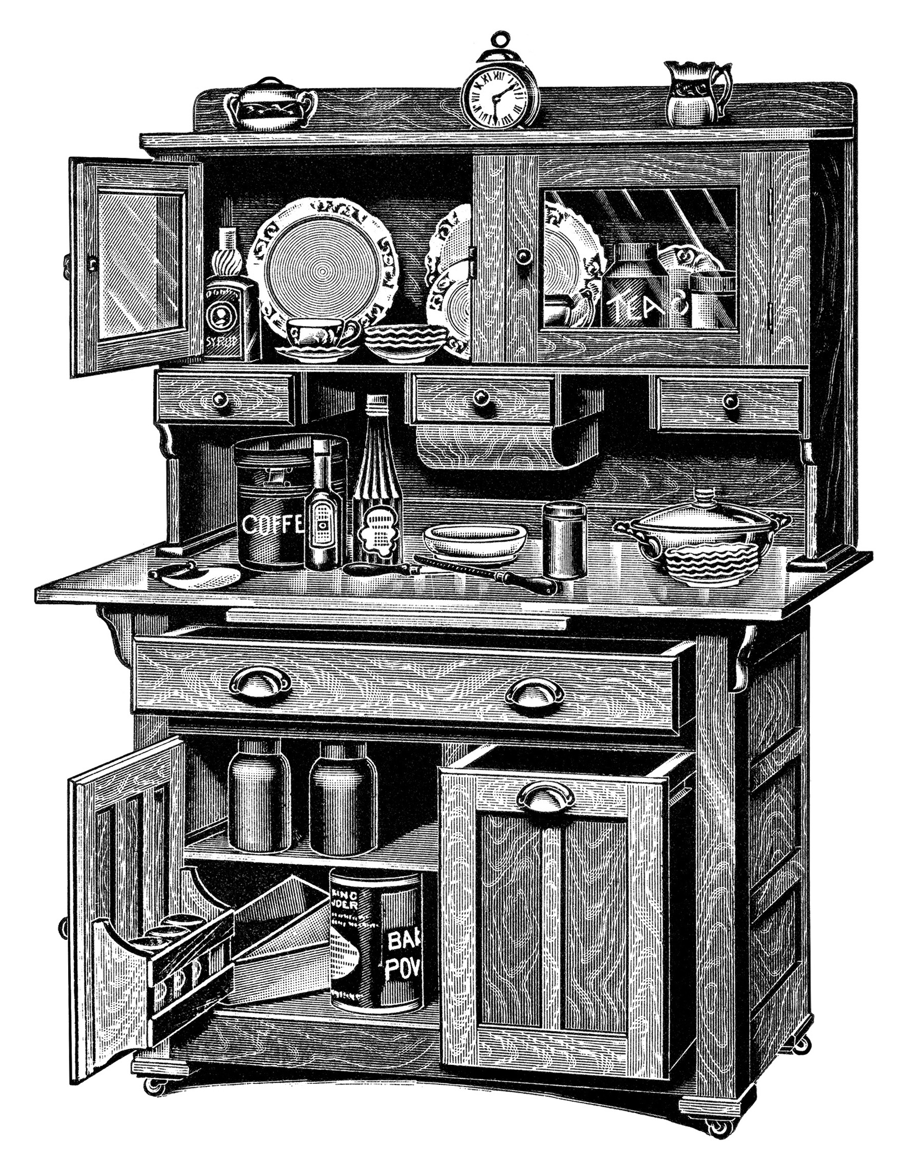 Free Vintage Image   Kitchen Cabinets Catalogue Page And Clip Art
