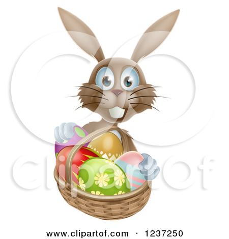 Happy Gray Bunny With Easter Eggs And A Basket By Atstockillustration
