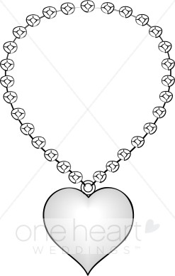 Heart Shaped Necklace Clipart   Bridal Accessories Clipart
