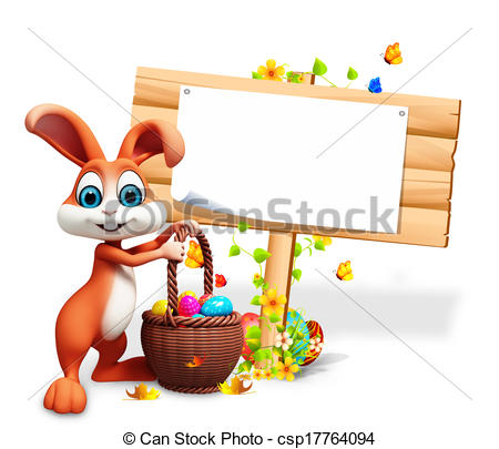 Illustration Of Easter Bunny With Sign   Brown Bunny With Eggs Basket