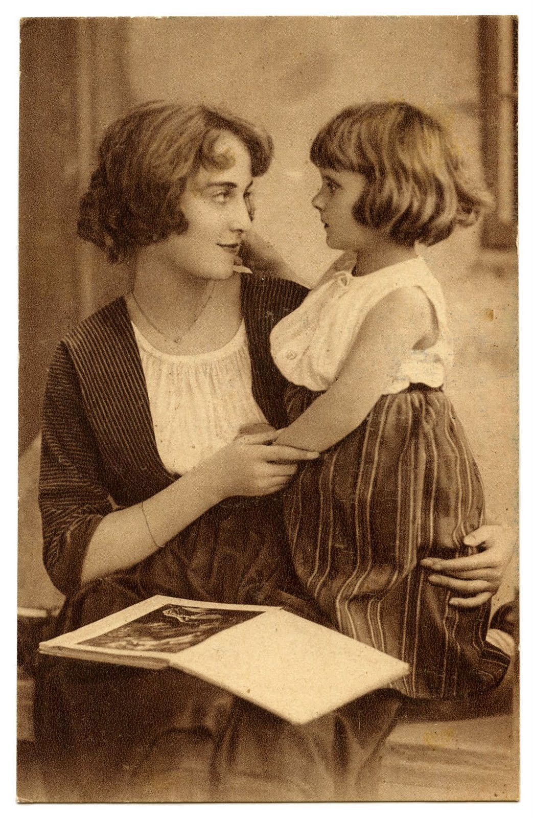 Is An Antique Sepia Toned Postcard  That Shows A Mother And Daughter
