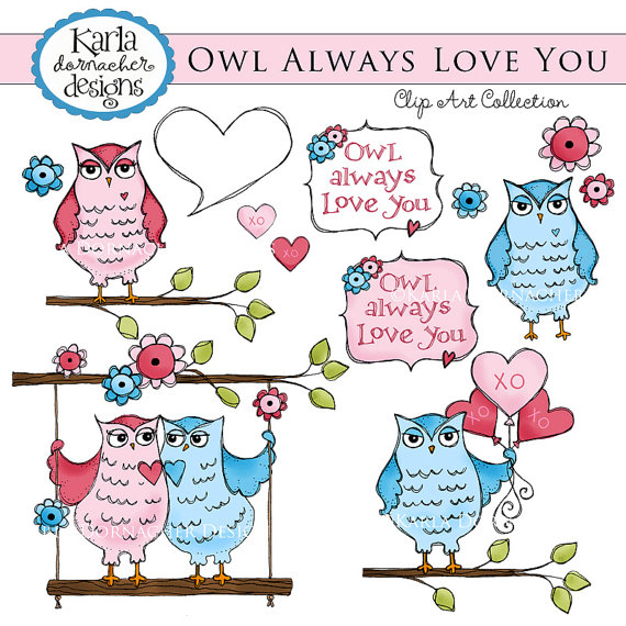 Items Similar To Owl Love You Always Valentine Or Baby Shower Clip Art