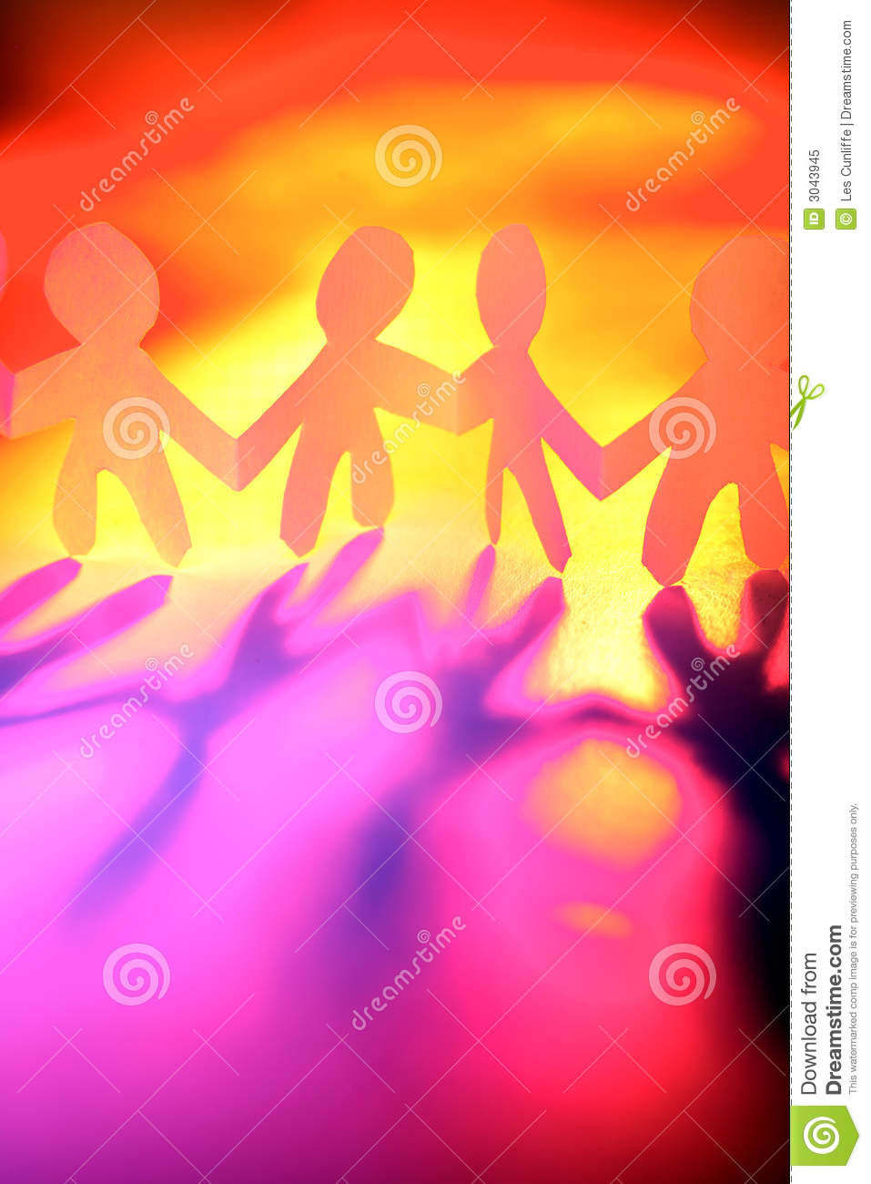 Line Of Four Paper Doll Cutout Figures Holding Hands With A Colorful