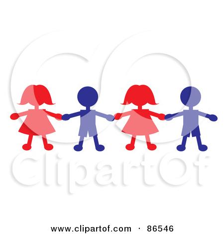 Paper Dolls Holding Hands Clip Art