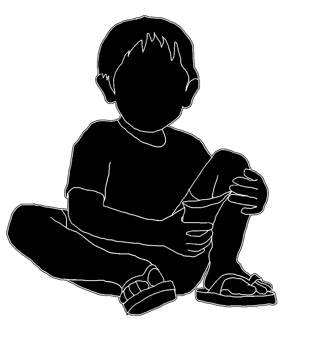 Silhouette Of Child With Candy Bag