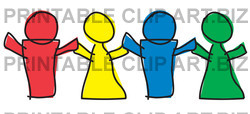 Yellow Blue And Green Paper Dolls Or Children Holding Hands Clipart