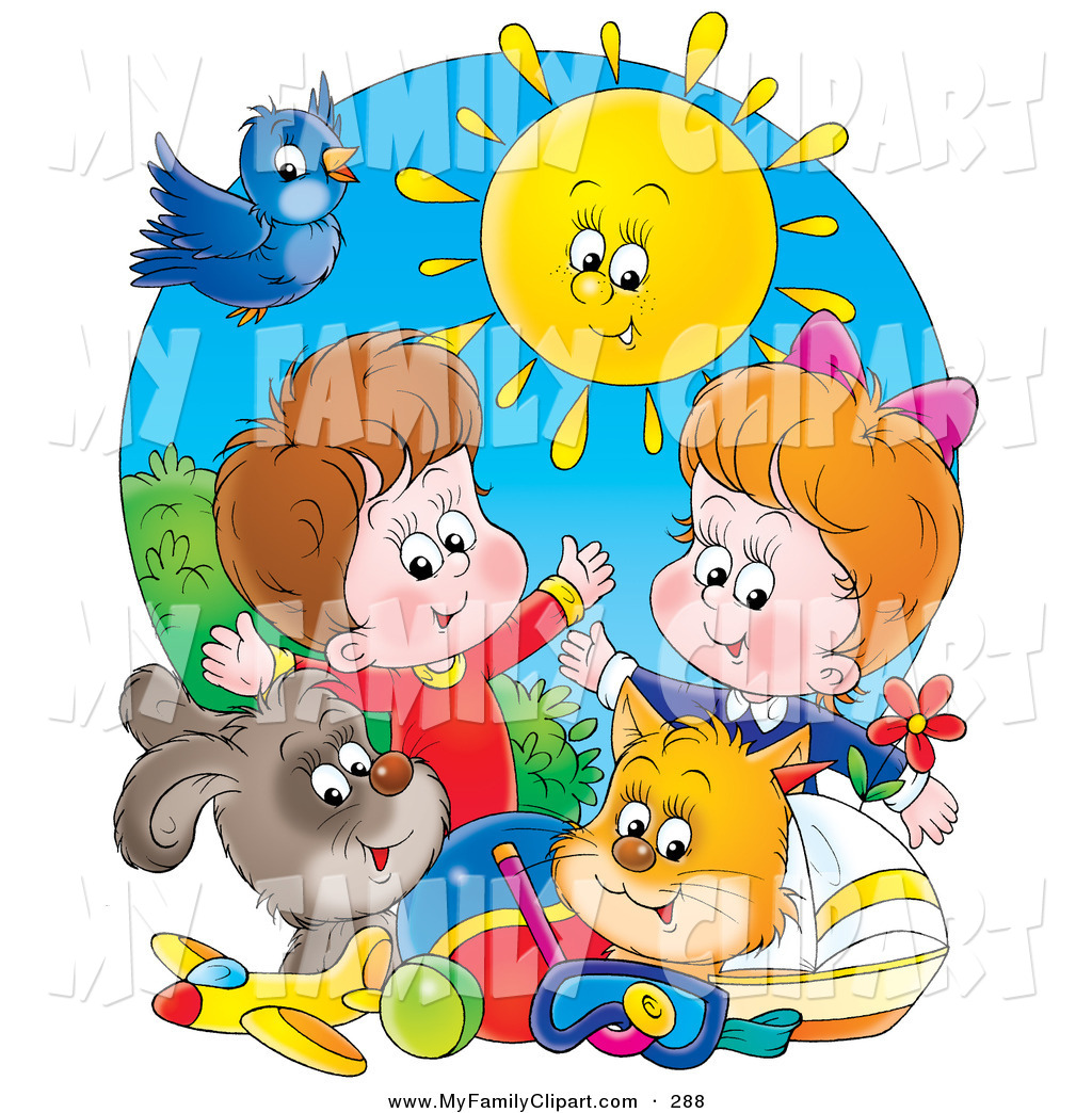 Clip Art Of A Summer Sun Shining Down On A Bird Dog Cat Toys And A