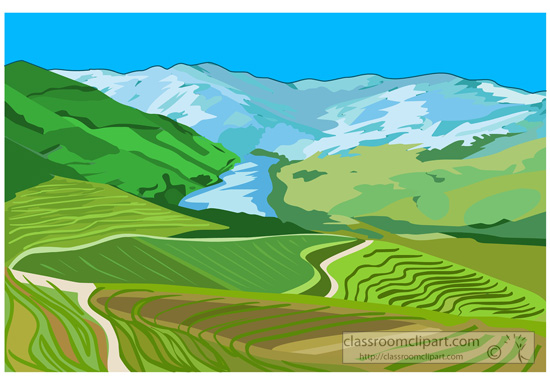Geography   Valley With Rolling Green Hills   Classroom Clipart