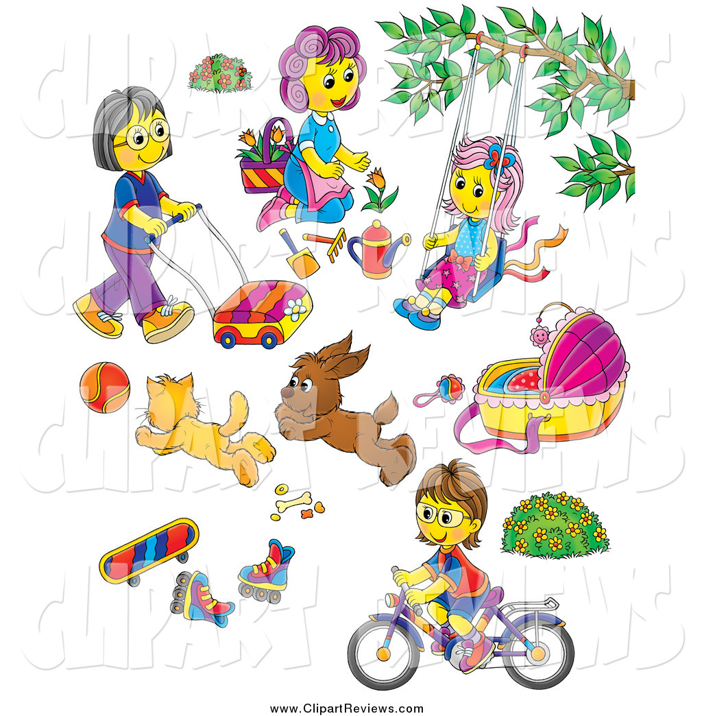 Larger Preview  Clip Art Of Mothers Children Toys And Pets By Alex