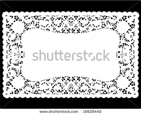 Mat  Antique Border Design Vintage Pattern White Isolated On Black