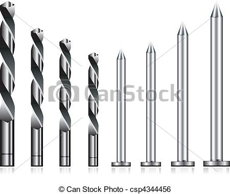 Of Realistic Drill Bit And Steel Nail Set Csp4344456   Search Clipart