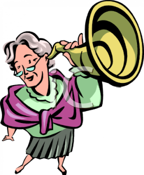 Old Woman Holding An Ear Trumpet Clipart Clipart Image