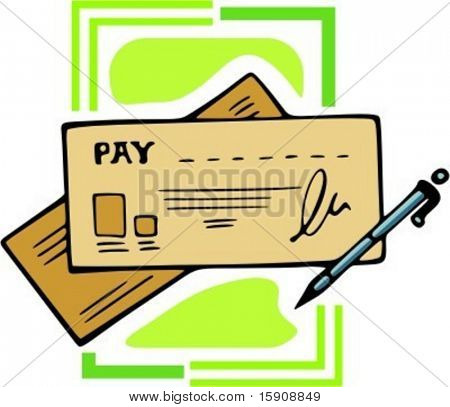 Pay Check Cheque With Pen Vector Illustration