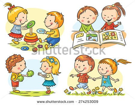 Set Of Four Cartoon Illustrations With Kids  Communication And Common