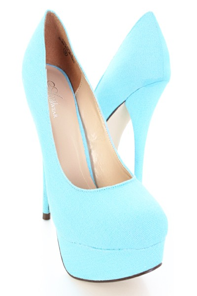Baby Blue High Heels - Qu Heel