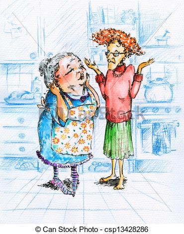 Stock Illustration Of Old Women   Two Old Women Talking In