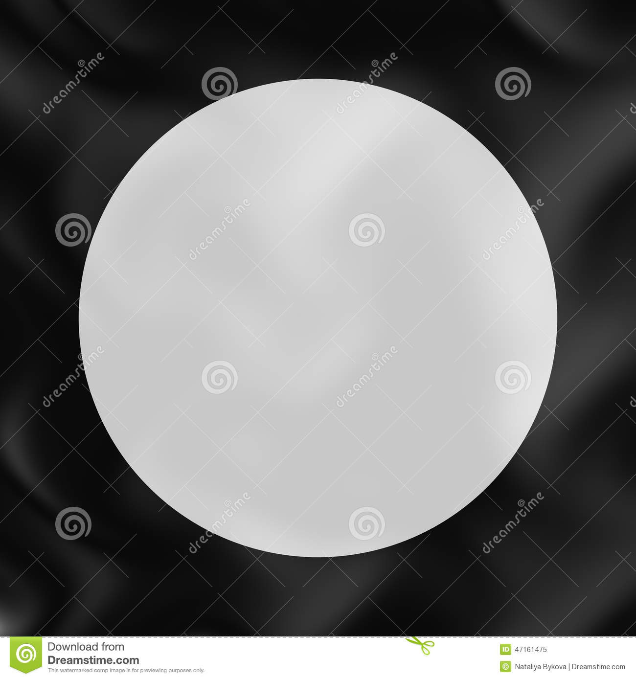 White Circle On Black Silk 3d Abstract Background Stock Illustration