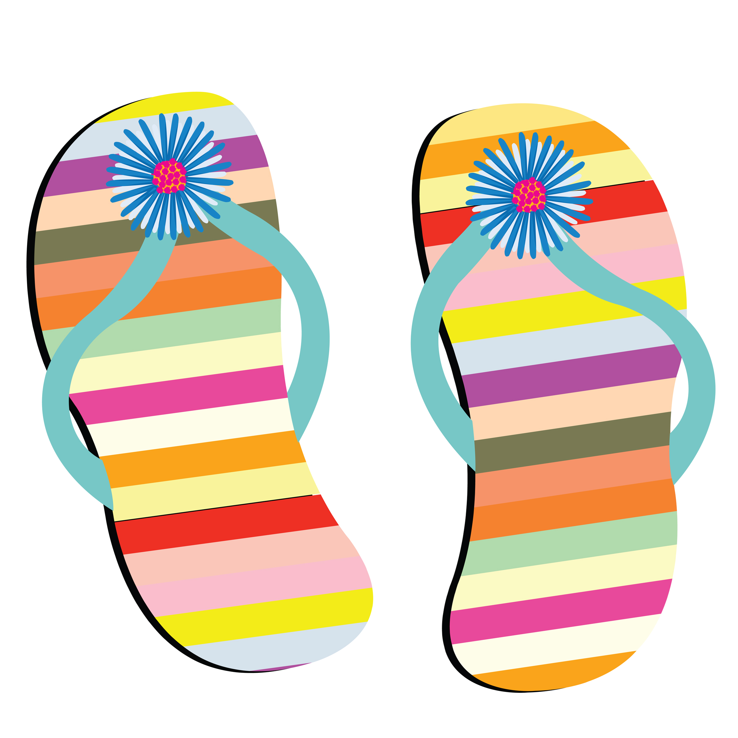 Flip Flops On The Beach Clipart - Clipart Kid