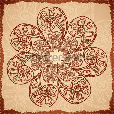 Beige Abstract Background With Doodle Flower Stock Vector   Clipart Me