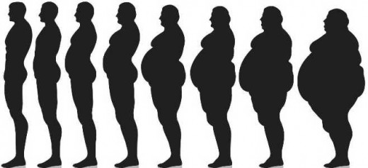 Black And White Photo Of Thin Man To Obese Man Silhouette Showcasing
