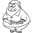 Cartoon Fat Man Playing Ukulele  Black And White Line Art