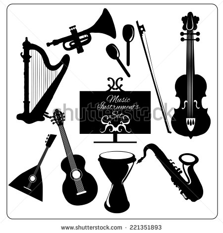 Classic Musical Orchestral Instruments Black Icons Set Of Guitar