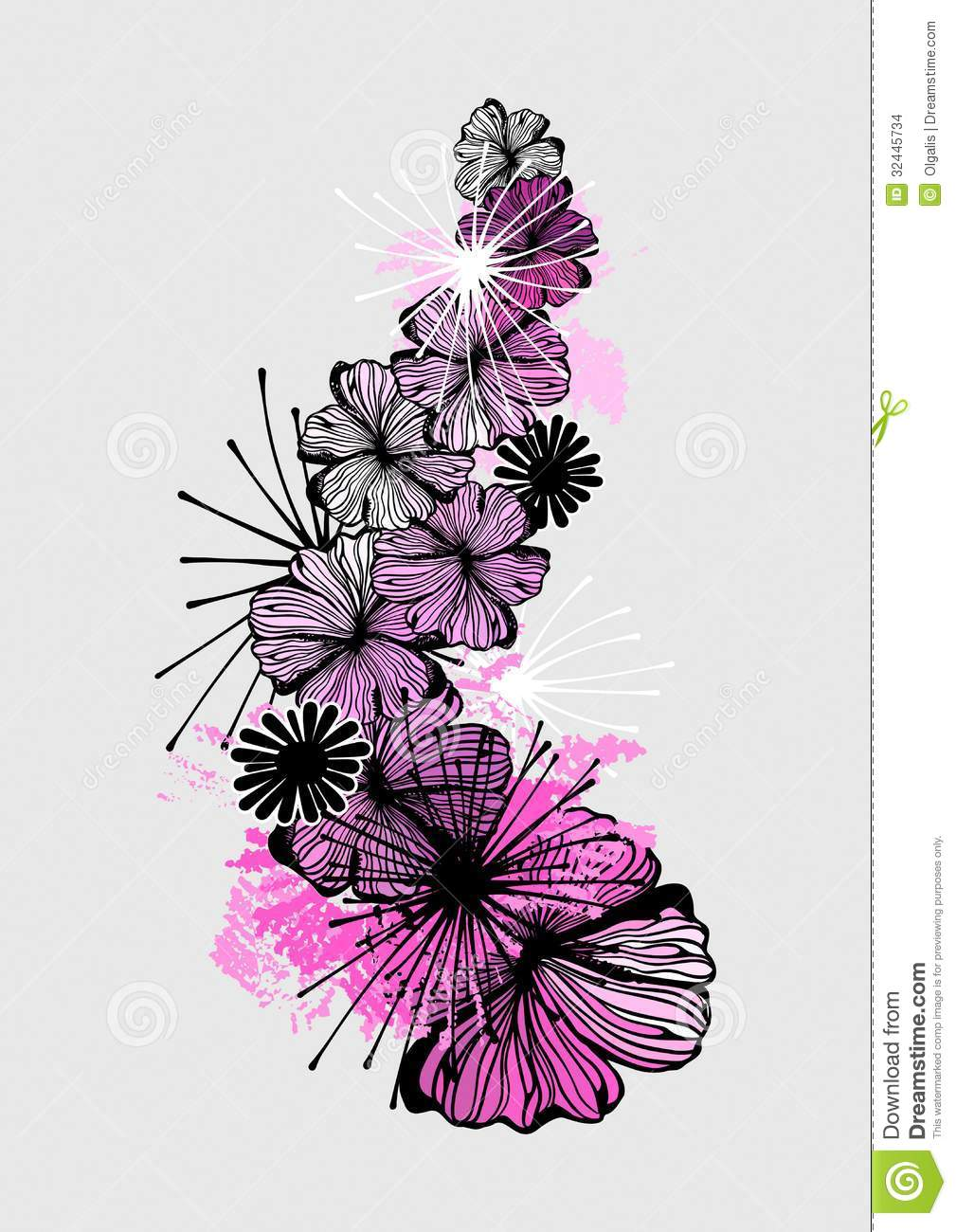 Doodle Flower Ink Pattern Model For Design Of Gift Packs Patterns