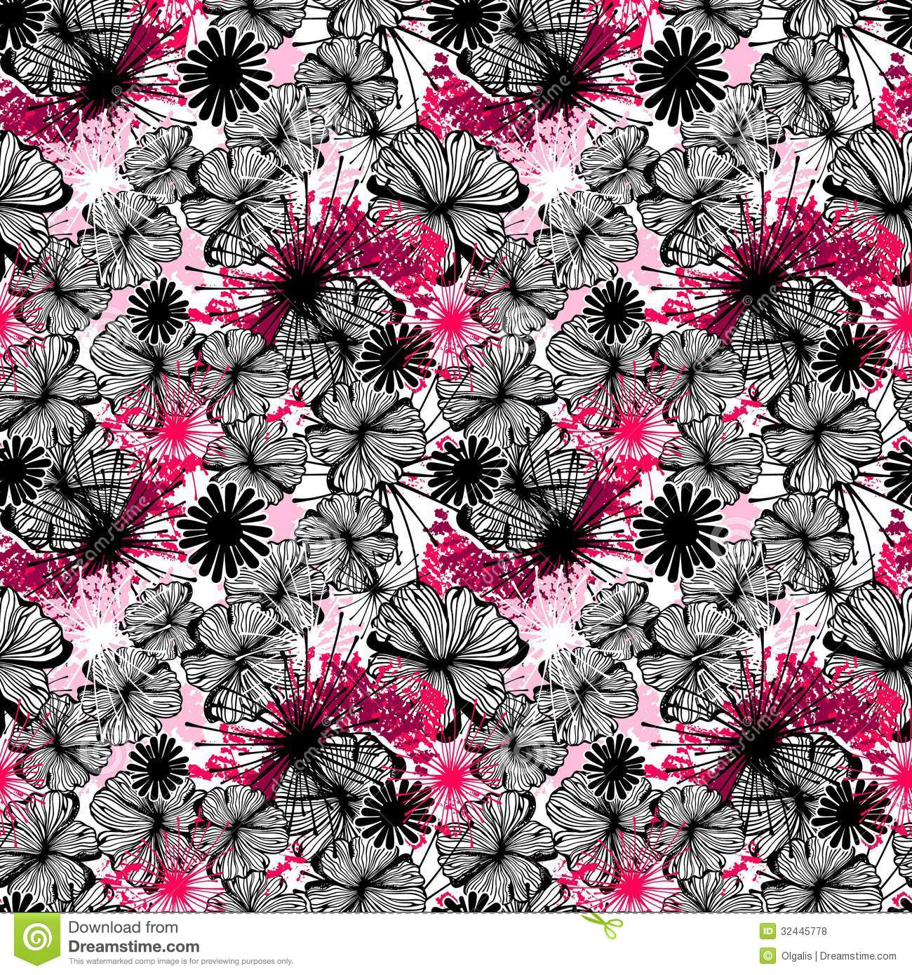 Doodle Seamless Flower Ink Pattern Royalty Free Stock Photos   Image