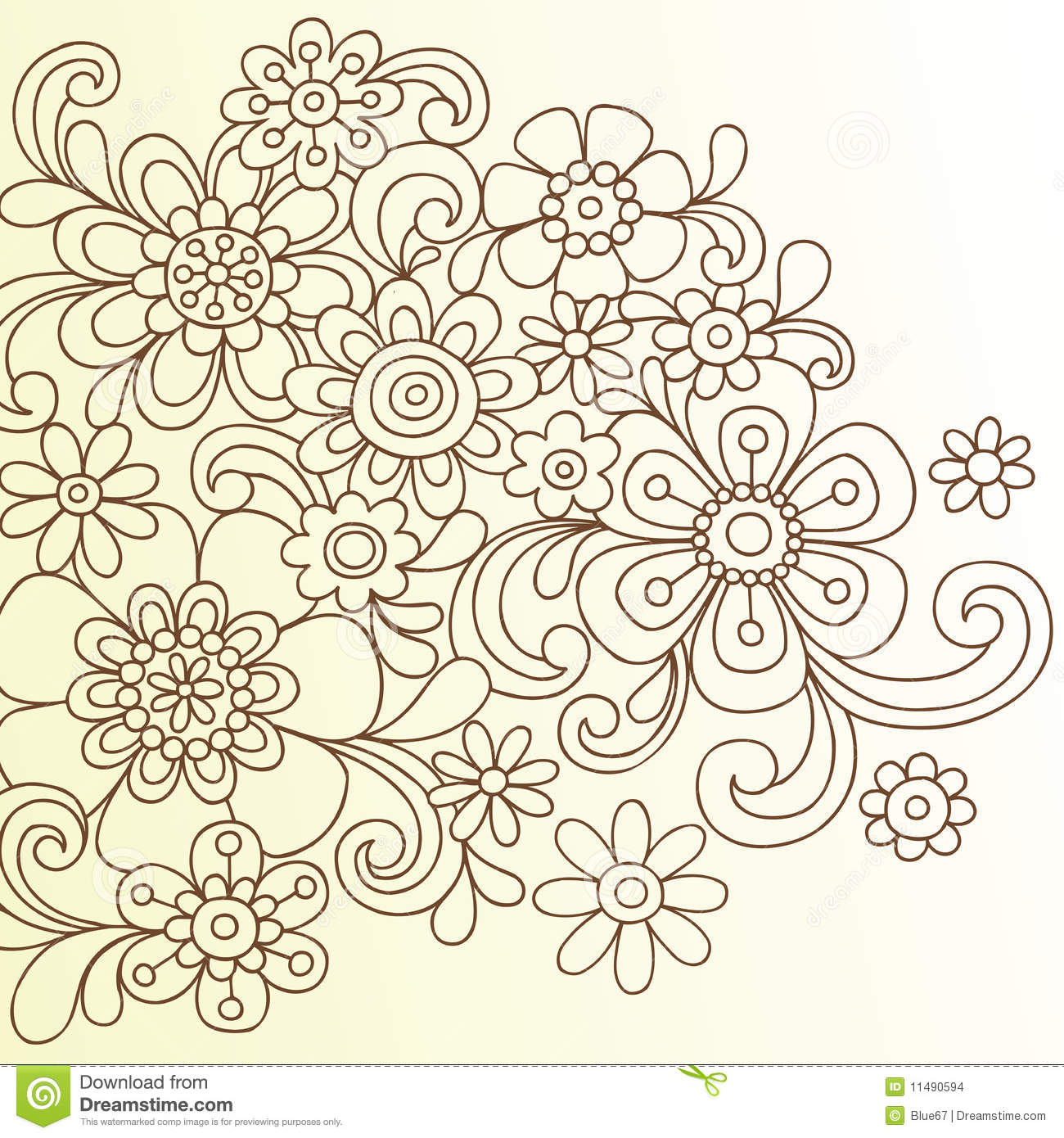 Hand Drawn Henna Doodle Flowers Vector Illustration
