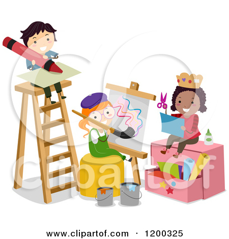 Of Arts And Crafts Children By A Ladder   Royalty Free Vector Clipart